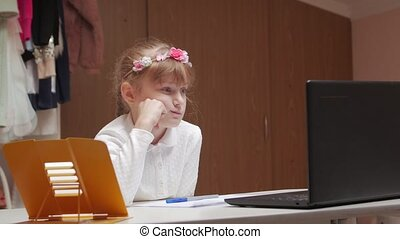 Boring Online Lesson - Boring online lesson little girl at ...