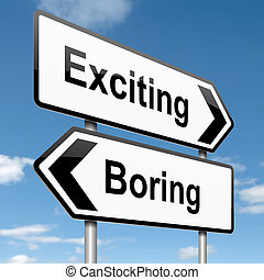 Boring or exciting concept. - Illustration depicting a...
