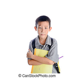 Boring schoolboy with backpack and book isolated on white background