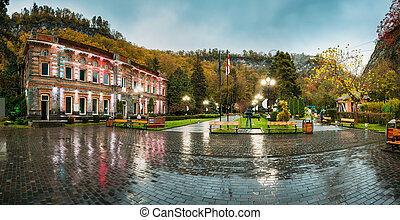 Borjomi, Samtskhe-Javakheti, Georgia. Panorama Of Famous Local Landmark Is City Park At Autumn October Evening.
