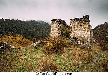 Borjomi, Samtskhe-Javakheti, Georgia. Famous Local Landmark Is Gogia Fortress In Autumn October Day