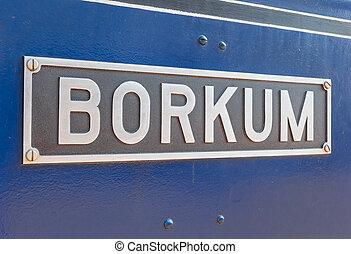 borkum, nom, île, signe, forcer, vapeur