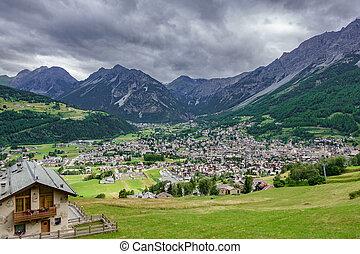 Bormio city and Dolomites top view