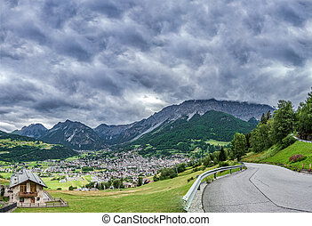 Bormio city in the valley near Stelvio Pass, Dolomites, ...