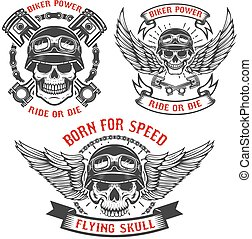 Born for speed. Set of biker skulls in helmets, with wings and p