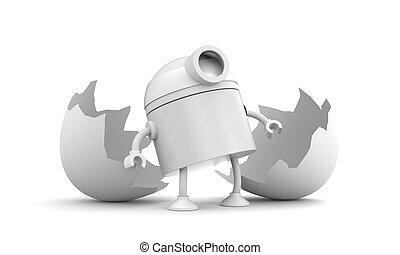 Born of robot. Broken chicken egg. 3d illustration