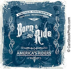 born to ride - motorcycle rider vector for T-shirt printed...