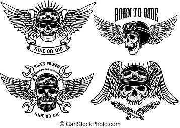 Born to ride. Set of biker skulls with wings and helmets on whit