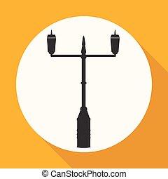 borne lâmpada, rua, ícone
