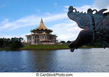 borneo kuching parliament - with metal head of the dragon