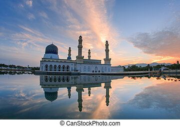 borneo, meczet, kota-kinabalu, sabah, malezja, bandaraya,...