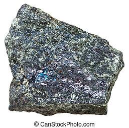 Bornite (peacock ore) rock isolated