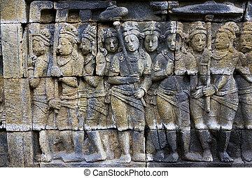 borobudur の寺院, インドネシア, bas - レリーフ