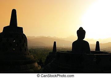 Borobudur at Sunset, Java, Indonesia - One of the many...