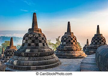 borobudur, java, temple, levers de soleil, indonésie