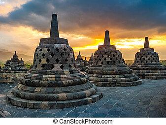 borobudur, levers de soleil, temple, java, indonésie