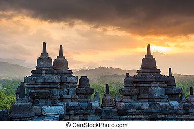 borobudur tempel, an, sonnenaufgang, java, indonesien