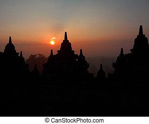 borobudur tempel, an, sonnenaufgang