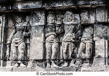 borobudur tempel, an, sunrise., yogyakarta, java, indonesia.