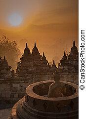 borobudur tempel, hos, solopgang, java, indonesia