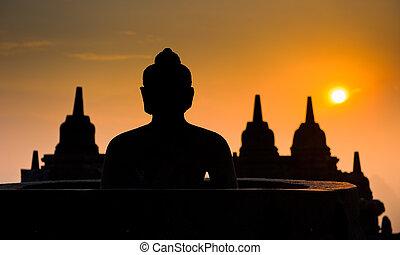 borobudur tempel, op, zonopkomst, java, indonesie