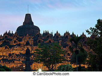 Borobudur Temple at Dusk