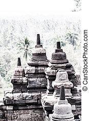 Borobudur Temple at sunrise. Yogyakarta, Java, Indonesia.