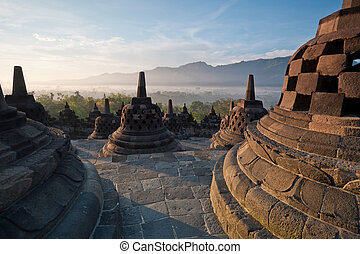 Borobudur Temple Morning Sunrise