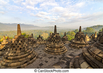Borobudur temple stupa row in Indonesia - Borobudur temple...