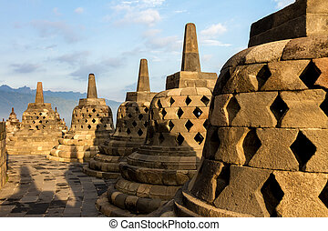 Borobudur temple stupa row in Indonesia