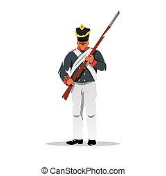 borodino, antiguo, illustration., soldado, vector, ruso, caricatura