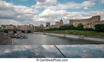 Borodinskiy Bridge, Ministry of Foreign Affiars, Embankment of Moskva River in the summer, Moscow, Russia, 4k, time lapse, pan.