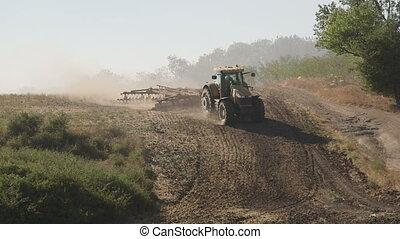 boronál, tanya, modern, mező, farmer, használ, korong, ...
