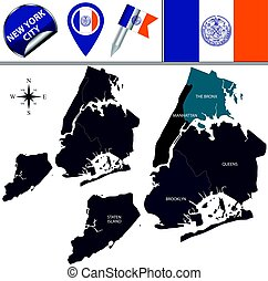 Boroughs of New York City - Vector map of boroughs of New...