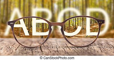borrão, óculos, correção