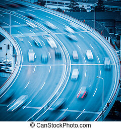 borrão, aproximação, movimento, ponte, car