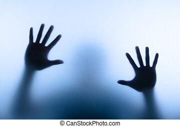 borrão, mão, de, homem, tocar, vidro