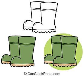 borracha, boots., jardinagem, cobrança
