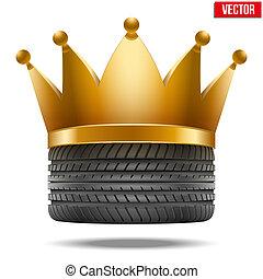 borracha, coroa dourada, pneu, realístico