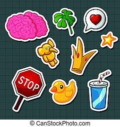 borracha, coroa, sinal, parada, ouro, pato, vidro, cérebro, soda, elefante, adesivos, trevo