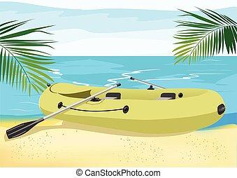 borracha, costa, bote, mar