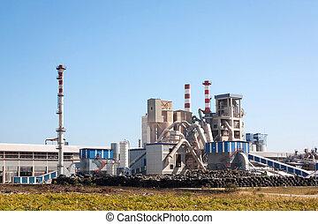 borracha, fábrica, integrada, em, a, paisagem, contra, céu...
