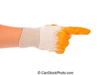 borracha, glove., amarela, mão