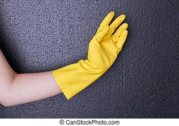 borracha, glove., femininas, amarela, mão