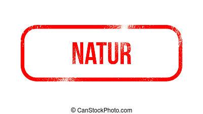 borracha, grunge vermelho, natur, -, selo