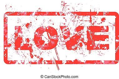 borracha, vetorial, amor, stamp.