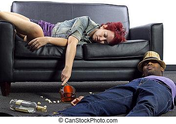 borracho, fiesta, después