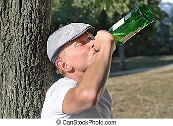 borracho, hombre, con, un, problema alcohol