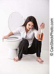 borracho, mujer