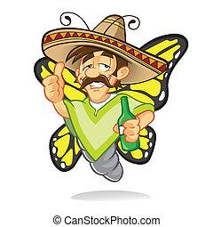 borracho, sombrero, mariposa, caricatura